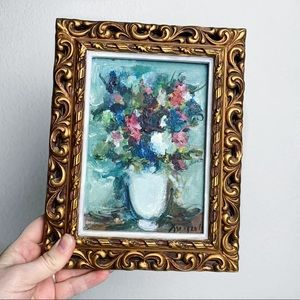 Floral Oil Painting in Vintage Baroque Gold Frame